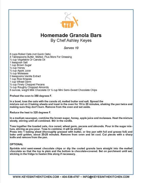 HOMEMADE GRANOLA BARS RECIPIE CARD